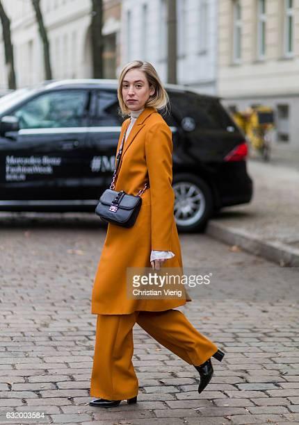 Sonia Lyson wearing a Lala Berlin suit black Valentino bag Kurt Geiger shoes ring lilian von trapp during the MercedesBenz Fashion Week Berlin A/W...