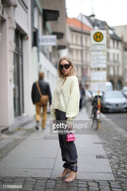 Sonia Lyson wearing Jacquemus mini bag Dior sunglasses Zara shoes Edited pants And other Stories blazer on September 13 2019 in Berlin Germany