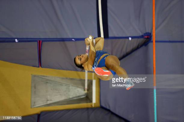 Sonia Malavisi of Italy competes during the Women's Pole Vault during the European Athletics Indoor Championships Day Two at the Emirates Arena on...