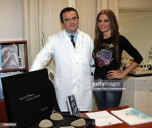 Sonia Monroy is seen at Estetic Group where she underwent treatment before having her breast implants replaced on January 12 2012 in Barcelona Spain