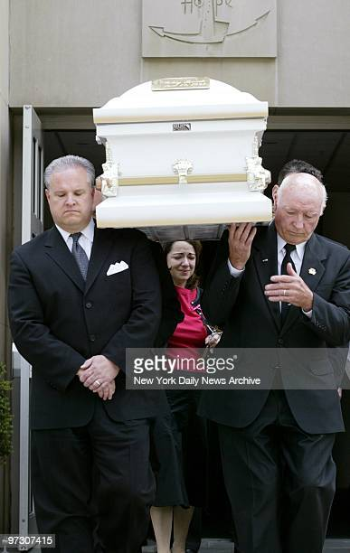 Sonia Moura follows the coffin of her daughter Gabrielle Acevedo as it is borne from St Margaret of Cortona Church in Riverdale the Bronx after...