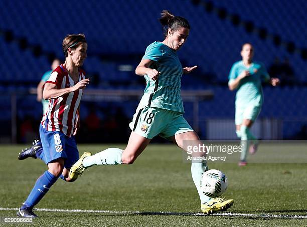 Sonia of Atletico Madrid in action against Marta Torrejon of Barcelona during the Superliga Women match between Atletico Madrid and Barcelona at...