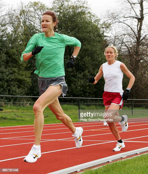 Sonia O'Sullivan of Ireland and Benita Johnson of Australia in action during a training session in preparation for the London Marathon at Teddington...