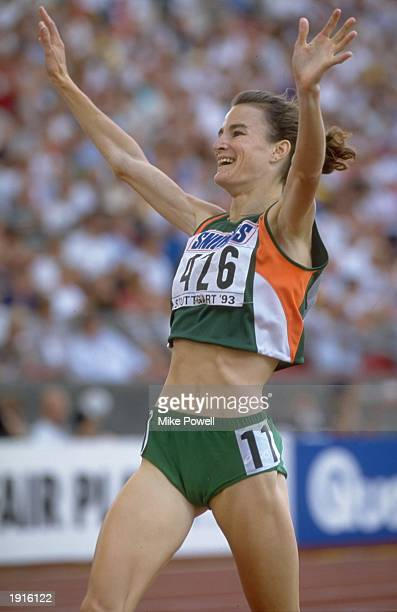 Sonia O'sullivan of Ireland raises her arms aloft after finishing the 1500 metres event at the Grand Prix in Stuttgart Germany O'sullivan finished...