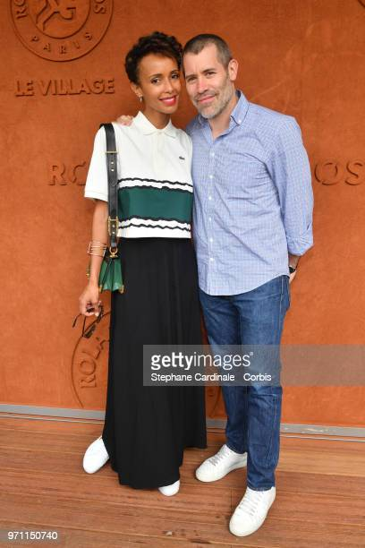 Sonia Rolland and Jalil Lespert attend the Men Final of the 2018 French Open Day Fithteen at Roland Garros on June 10 2018 in Paris France