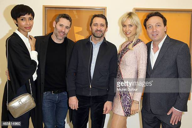Sonia Rolland Jalil Lespert Xavier Veilhan AnneSophie Mignaux and Emmanuel Perrotin attend Art Exhibition at Galerie Perrotin as part of the Paris...