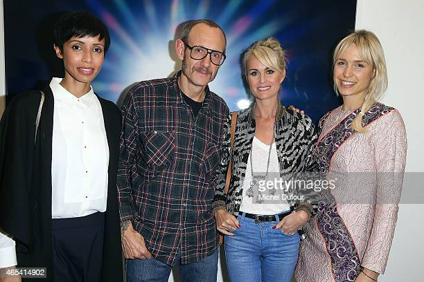 Sonia Rolland Terry Richardson Laetitia Hallyday and AnneSophie Mignaux attend Art Exhibition at Galerie Perrotin as part of the Paris Fashion Week...