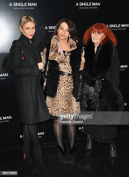 Sonia Rykiel Nathalie Rykiel and Lola Burstein attend A Single Man Paris Premiere at Cinema UGC Normandie on February 9 2010 in Paris France