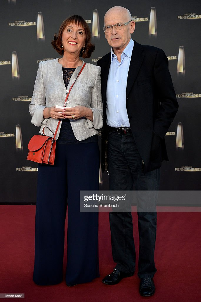 Sonia Seymour Mikich and Guenter Wallraff arrive at the 'Deutscher Fernsehpreis 2014' at Coloneum on October 2, 2014 in Cologne, Germany.