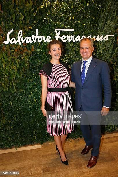 Sonia Sieff and Leonardo Ferragamo attend the Re Opening of Salvatore Ferragamo Boutique at Avenue Montaigne on July 5 2016 in Paris France