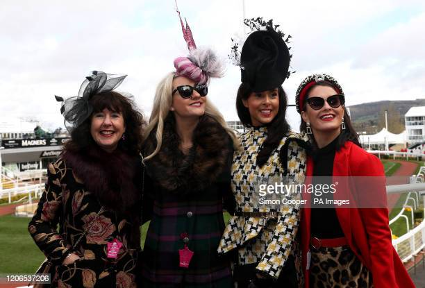 Sonia Smith Sophie LydiaPerkins Charlotte Blenkinsopp and Amy Brown during day two of the Cheltenham Festival at Cheltenham Racecourse