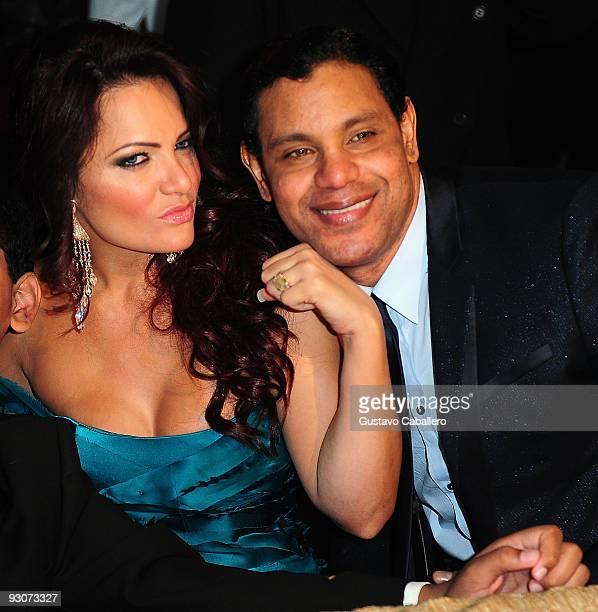 Sonia Sosa and Former MLB player Sammy Sosa pose at Sammy Sosa's birthday party at Fontainebleau Miami Beach on November 14, 2009 in Miami Beach,...