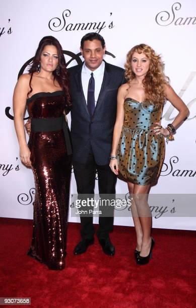 Sonia Sosa, Sammy Sosa and Paulina Rubio arrive at Sammy Sosa birthday party at Fontainebleau Miami Beach on November 14, 2009 in Miami Beach,...