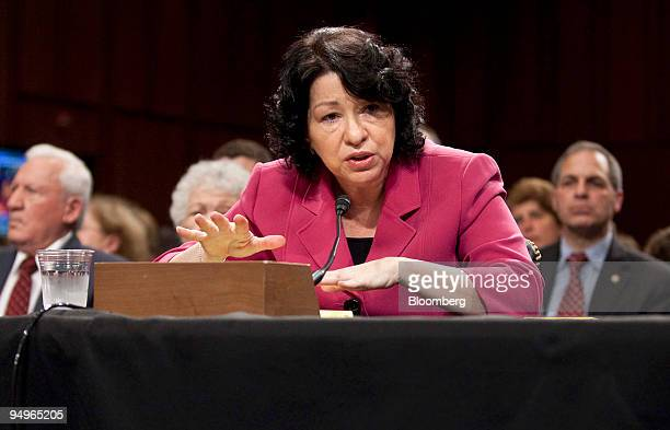 Sonia Sotomayor US Supreme Court nominee testifies at her confirmation hearing before the Senate Judiciary Committee in Washington DC US on Thursday...