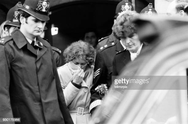 Sonia Sutcliffe, wife of Peter Sutcliffe, outside the Old Bailey during her husband's trial, 29th April 1981.