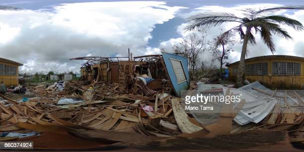 Sonia Torres' destroyed home remains in shambles three weeks after Hurricane Maria hit the island on October 11 2017 in Aibonito Puerto Rico The area...
