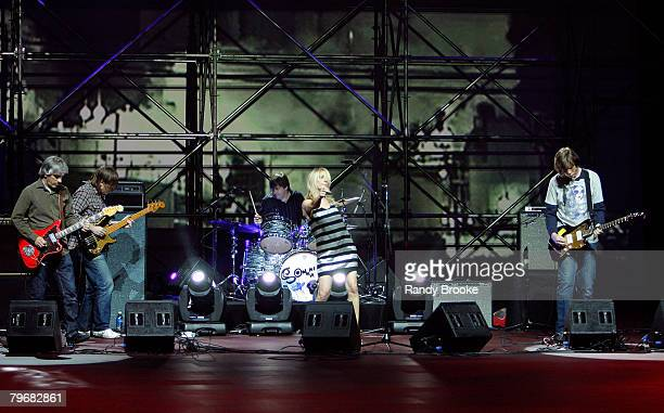 Sonic Youth perform at the Marc Jacobs Fall 2008 collection runway show during MercedesBenz Fashion Week Fall 2008 at New York State Armory on...