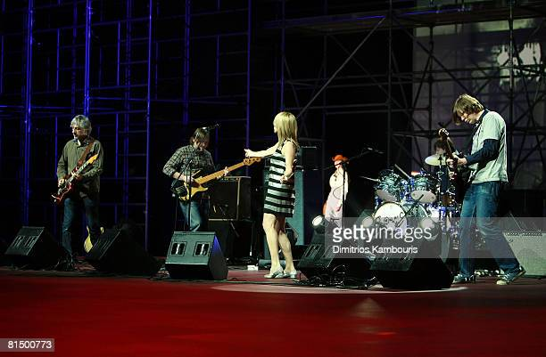 Sonic Youth performs at Marc Jacobs Fall 2008 collection during Mercedes-Benz Fashion Week Fall 2008 at The Tent, Bryant Park on February 8, 2007.