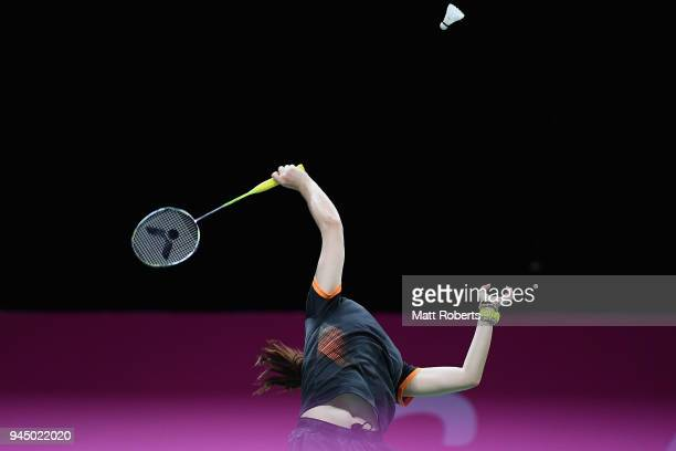 Soniia Cheah competes against Hui Zhen Grace Chua of Singapore during the Women's Singles Round of 16 Badminton match on day eight of the Gold Coast...