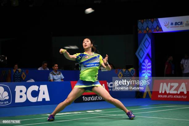 Soniia Cheah of Malaysia competes against Chiang Mei Hui of Chinese Taipei during Womens Single Round 1 match of the BCA Indonesia Open 2017 at...