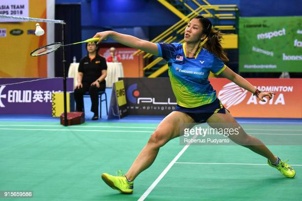 Soniia Cheah of Malaysia competes against Nitchaon Jindapol of Thailand during the EPlus Badminton Asia Team Championships 2018 at Sultan Abdul Halim...