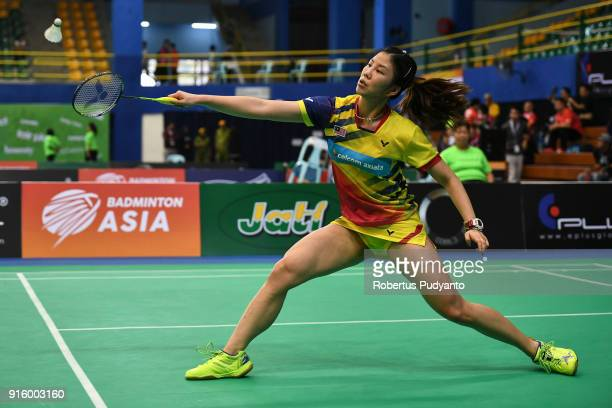 Soniia Cheah of Malaysia competes against Sung Ji Hyun of Korea during Women's Team Quarterfinal match of the EPlus Badminton Asia Team Championships...
