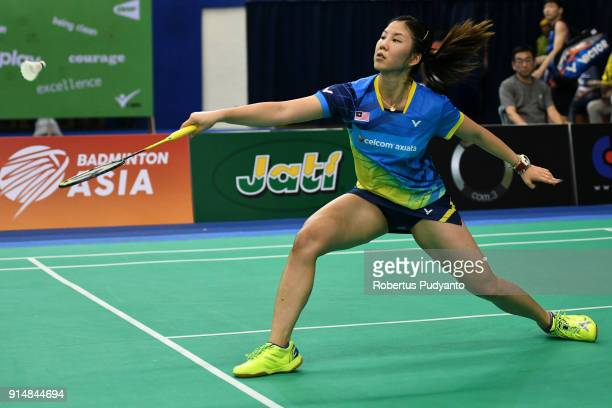 Soniia Cheah of Malaysia competes against Thi Trang Vu of Vietnam during the EPlus Badminton Asia Team Championships 2018 at Sultan Abdul Halim...