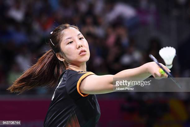 Soniia Cheah of Malaysia competes in the Badminton Mixed Team gold medal match against Saina Nehwal of India on day five of the Gold Coast 2018...