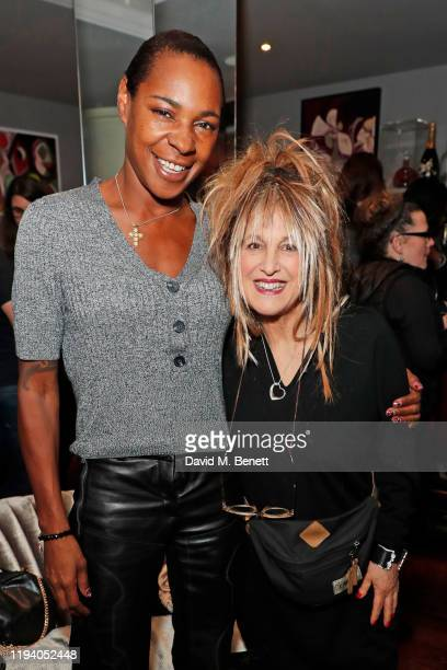 Sonique and Elizabeth Emanuel attend the launch of Chrissie Hynde's The Sanctum Collection at the Karma Sanctum Soho hotel on January 16 2020 in...