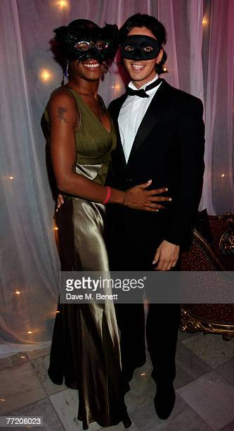 Sonique and partner attend the cocktail party during The Pink Ice Ball In Aid Of Cancer Research UK at The Waldorf Hilton Hotel on October 5 2007 in...
