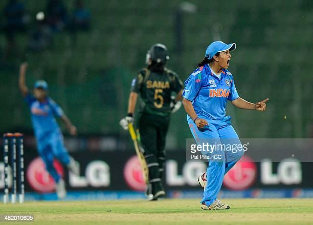Soniya Dabir of India celebrates the wicket of Nahida Khan of Pakistan during the ICC Women's World Twenty20 Playoff 2 match between Pakistan Women...