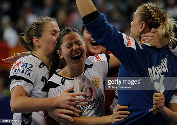 Sonja Barjakratovic celebrate victory against Serbia with teammates the Women's European Handball Championship 2012 semifinal match between Serbia...