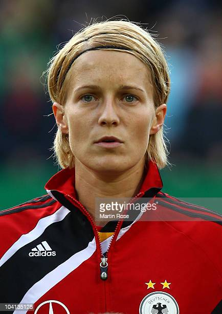 Sonja Fuss of Germany poses prior to the Women's International Friendly match between Germnay and Canada at Rudolf Harbig stadium on September 15,...