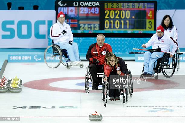 Sonja Gaudet of Canada competes during the Wheelchair Curling Round Robin Session 6 match between Canada and Norway on day three of the 2014...