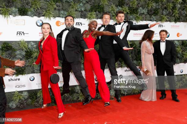 Sonja Gerhardt Adnan Maral Nikeata Thompson Roman Knizka and Eugen Bauder during the Lola German Film Award red carpet at Palais am Funkturm on May 3...