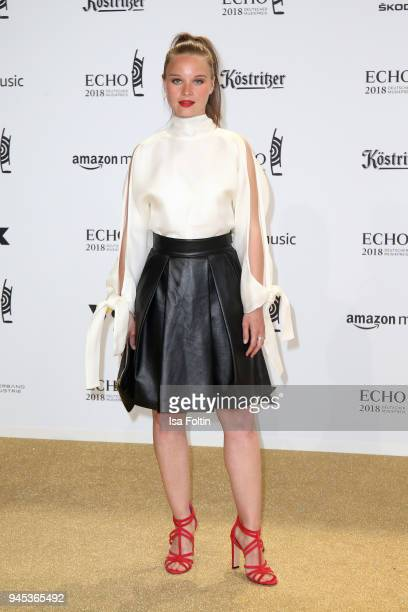 Sonja Gerhardt arrives for the Echo Award at Messe Berlin on April 12 2018 in Berlin Germany