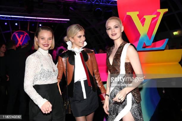 Sonja Gerhardt, Emilia Schuele and Caro Daur, dressed by Louis Vuitton, during the Louis Vuitton Store opening at KaDeWe on November 12, 2019 in...