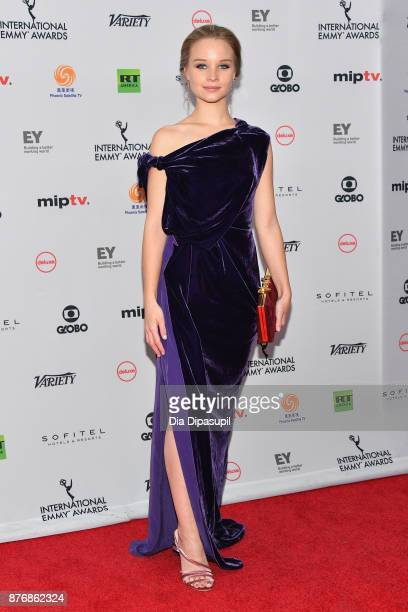 Sonja Gerhardt nominated for best performance by an actress in Ku'damm 56 attends the 45th International Emmy Awards at New York Hilton on November...