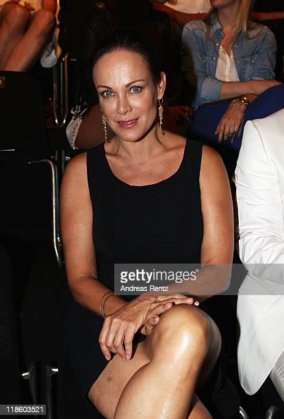 Sonja Kirch sits in front row at the Minx by Eva Lutz Show during MercedesBenz Fashion Week Berlin Spring/Summer 2012 at the Brandenburg Gate on July...