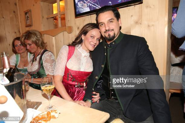 Sonja Kirchberger and her boyfriend Daniel during the 27th Weisswurstparty at Hotel Stanglwirt on January 19, 2018 in Going near Kitzbuehel Austria.