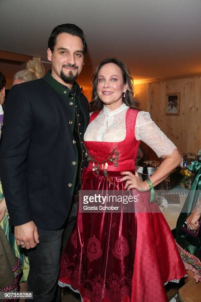 Sonja Kirchberger and her boyfriend Daniel during the 27th Weisswurstparty at Hotel Stanglwirt on January 19 2018 in Going near Kitzbuehel Austria