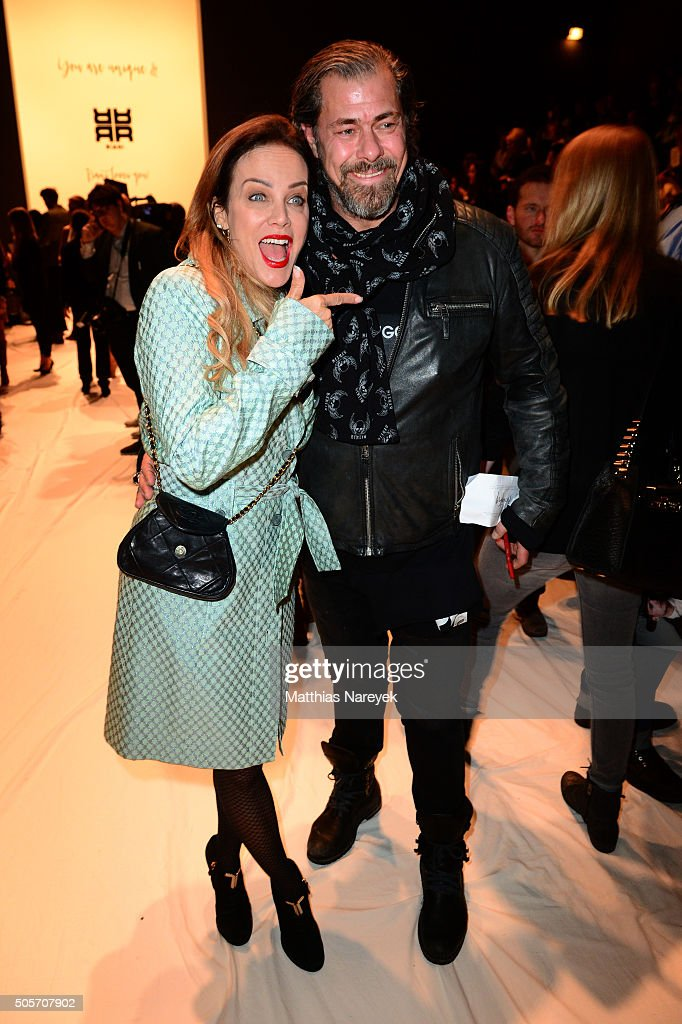 Sonja Kirchberger and Sven Martinek attend the Riani show during the Mercedes-Benz Fashion Week Berlin Autumn/Winter 2016 at Brandenburg Gate on January 19, 2016 in Berlin, Germany.