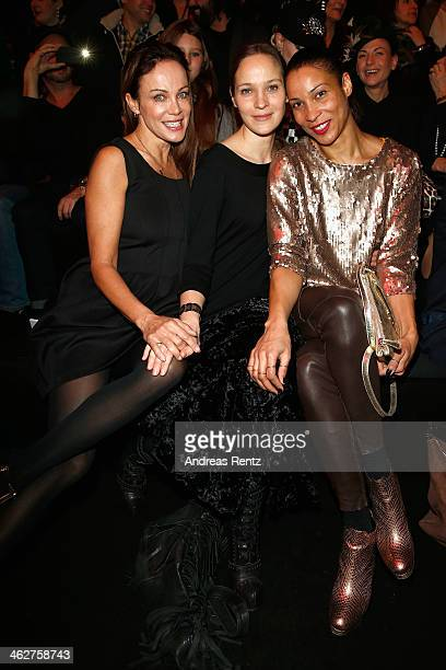 Sonja Kirchberger Jeanette Hain and Annabelle Mandeng attend the Minx by Eva Lutz show during MercedesBenz Fashion Week Autumn/Winter 2014/15 at...