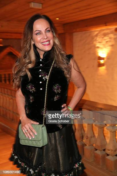 Sonja Kirchberger wearing a dirndl by Lola Paltinger during the 28th Weisswurstparty at Hotel Stanglwirt on January 25 2019 in Going near Kitzbuehel...