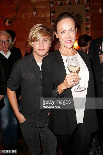 Sonja Kirchberger with son LeeOscar Kirchberger attend the Gala Dinner At Kuehtai Castle Tirol Cross Mountain 2013 on December 06 2013 in Innsbruck...