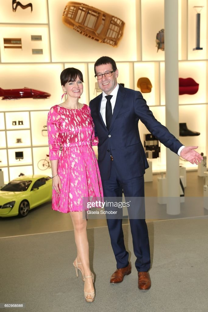 Sonja Lechner and Willi Bonke, CEO of Premium Cars Rosenheim, pose during the Gentlemen Art Lunch at Pinakothek der Moderne on March 13, 2017 in Munich, Germany.