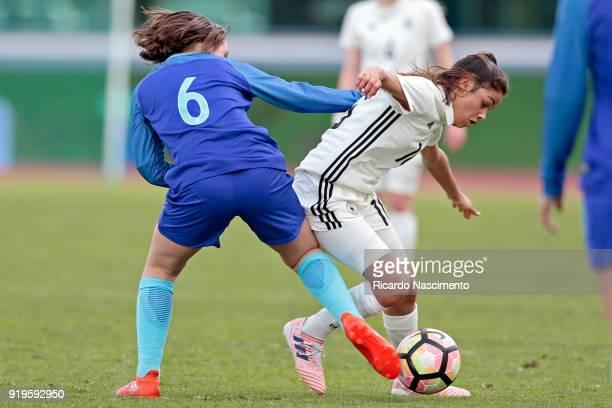 Sonja Merazguia of Girls Germany U16 challenges Bondil van den Heuvel of Girls Netherllands U16 during UEFA Development Tournament match between U16...