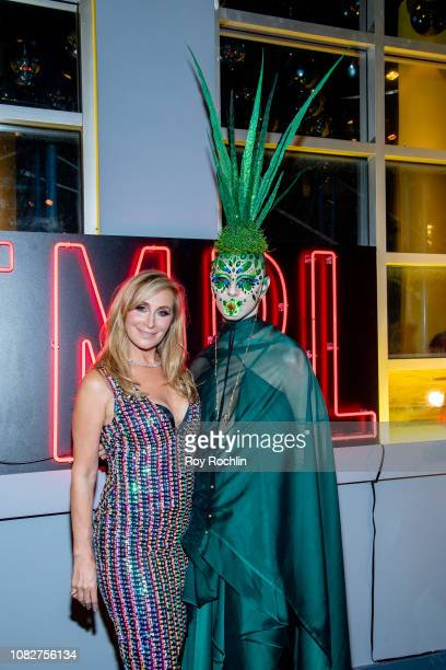 Sonja Morgan and a guest attend the Susanne Bartsch and David Barton's Toy Drive at TMPL West Village at TMPL West Village on December 14 2018 in New...