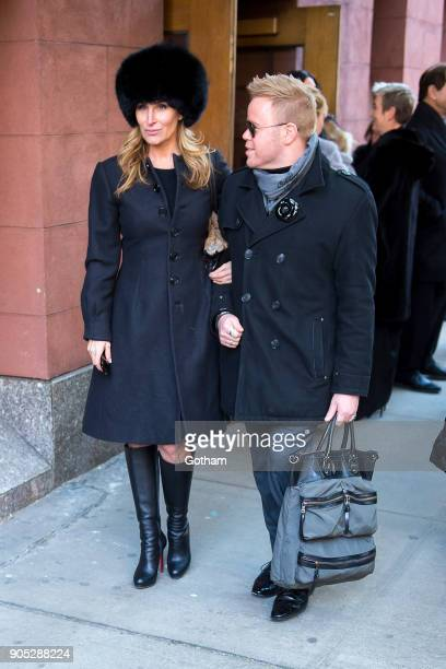 Sonja Morgan and Andrew Werner are seen departing from the funeral for Bobby Zarin at Riverside Memorial Chapel on January 15 2018 in New York City