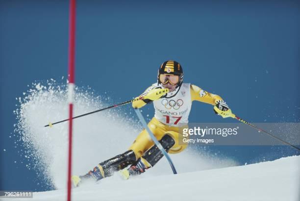 Sonja Nef of Switzerland skiing in the Women's Slalom competition on 19 February 1998 during the XVIII Olympic Winter Games at Shiga Kogen Nagano...